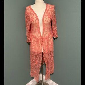 Indigo Poppy coral kimono